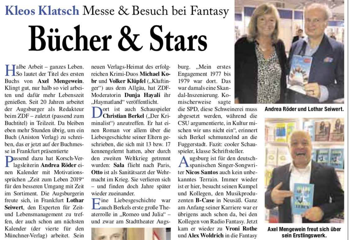 Axel Mengewein auf der Buchmesse Artikel Sonntagspresse