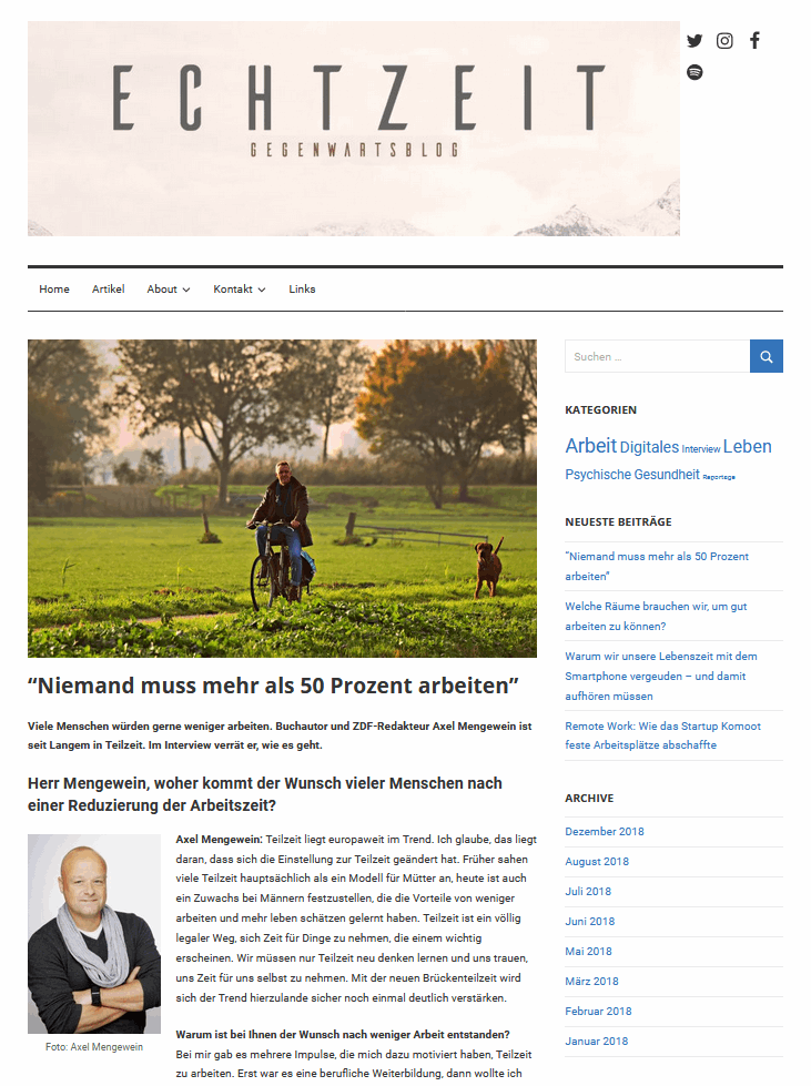 Echtzeitblog Gegenwartsblog